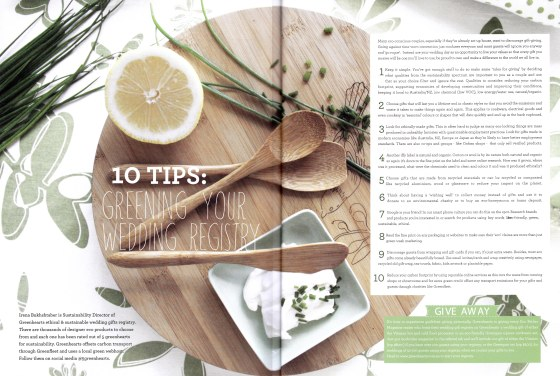 Top ten tips for greening your wedding registry as featured in ecobrides magazine